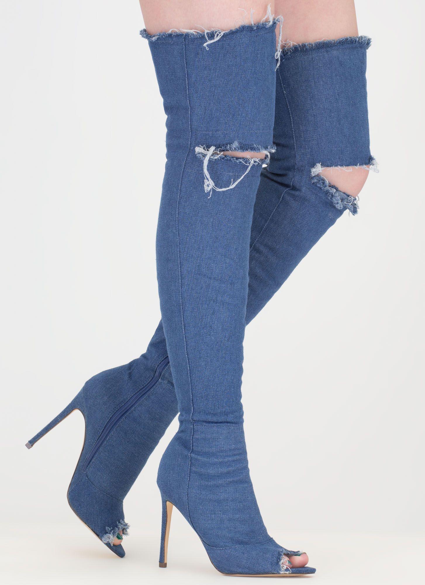 Distress Signal Denim Thigh-High Boots BLACK MEDIUMBLUE GREY ...