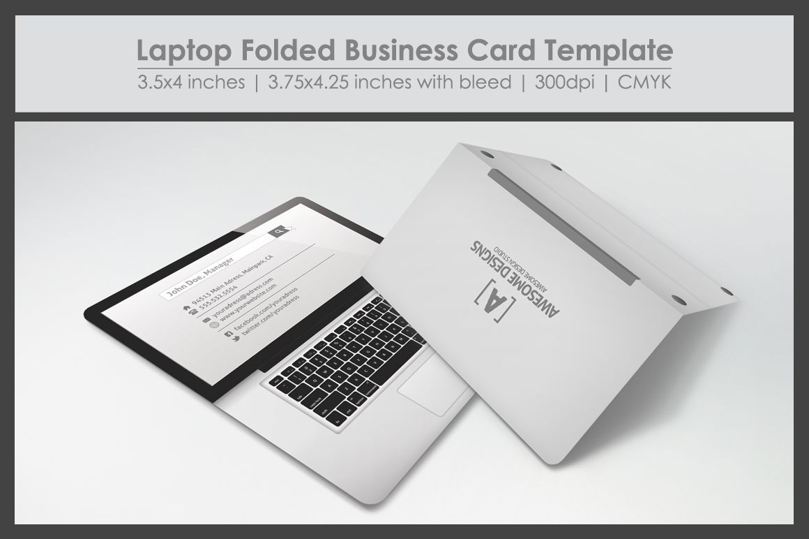 Laptop Folded Business Card Template Folded Business Cards Business Cards Creative Templates Business Card Template Psd