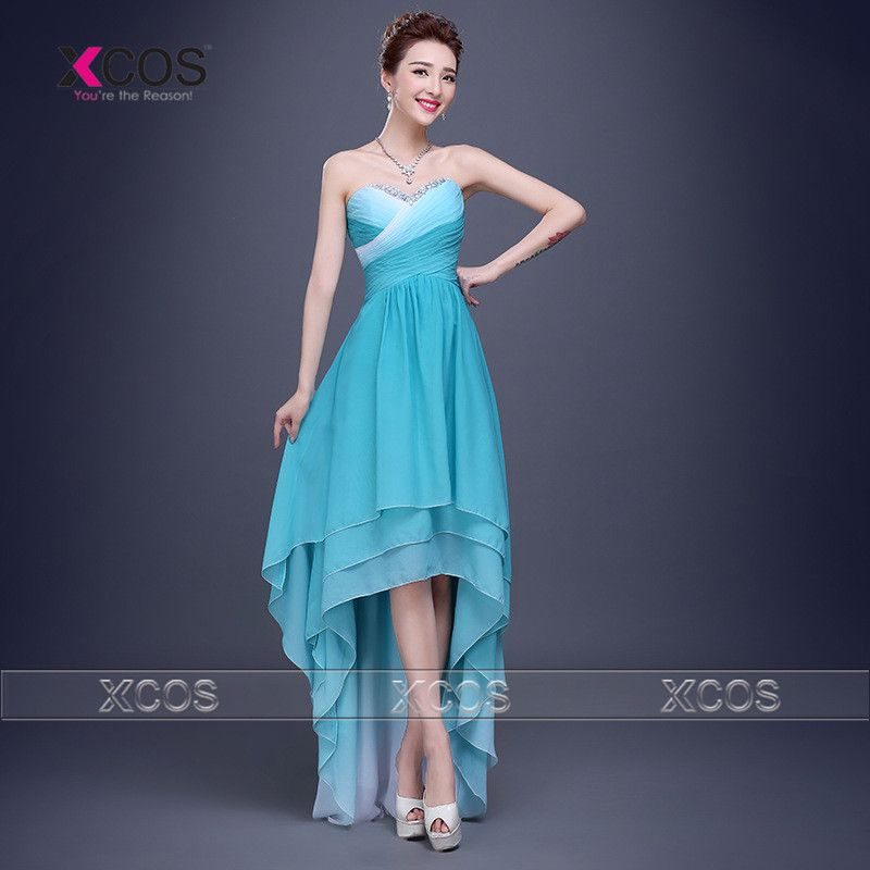 Click to Buy << New Arrival Ombre High Low Bridesmaid Dress Pleat ...