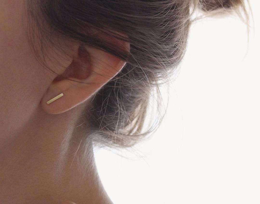line jewelry woman filled for stud earrings metalwork pin bended minimalist bar post gift gold