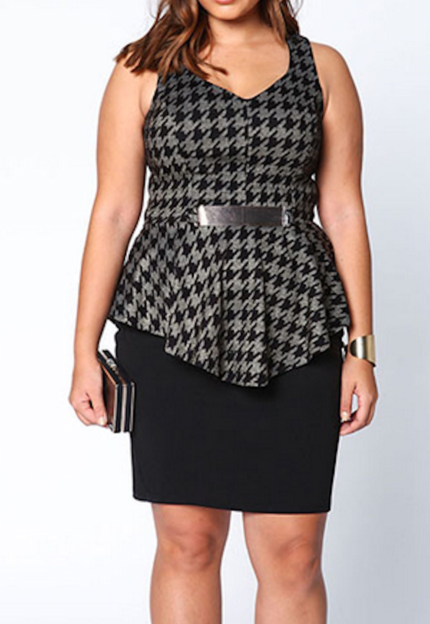 Plus Size Peplum Dress in Black