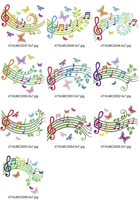 Musical-Scale-JMC Embroidery Designs | Patrones bordados | Bordado ...