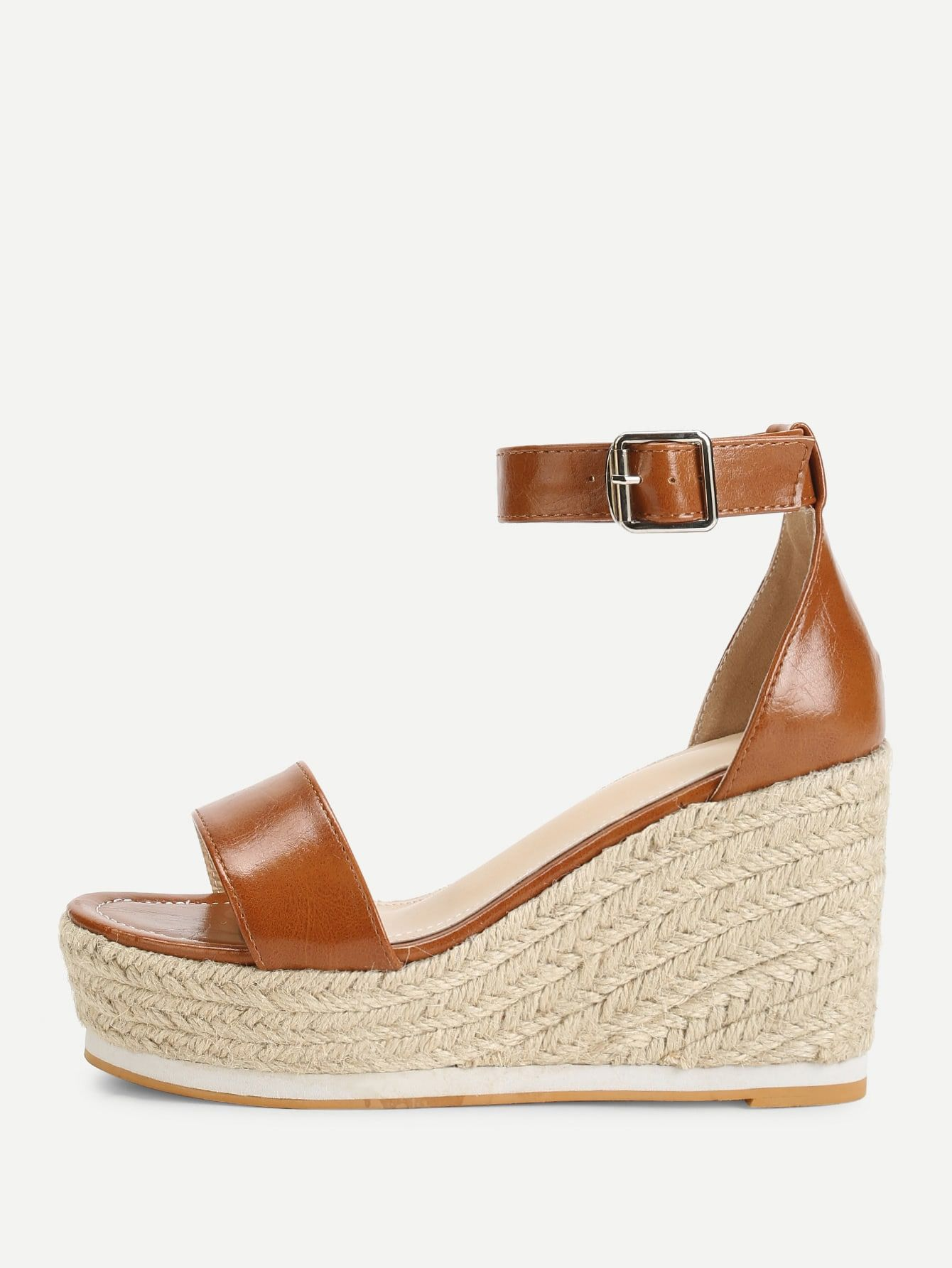 881a004d1d5e Vacation Open Toe Platform Ankle strap Brown High Heel Espadrille Ankle  Strap Espadrille Wedges