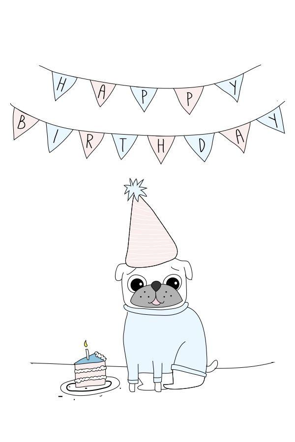 Freebie Pug Birthday Card The Crafty Frugaler – Pug Birthday Cards