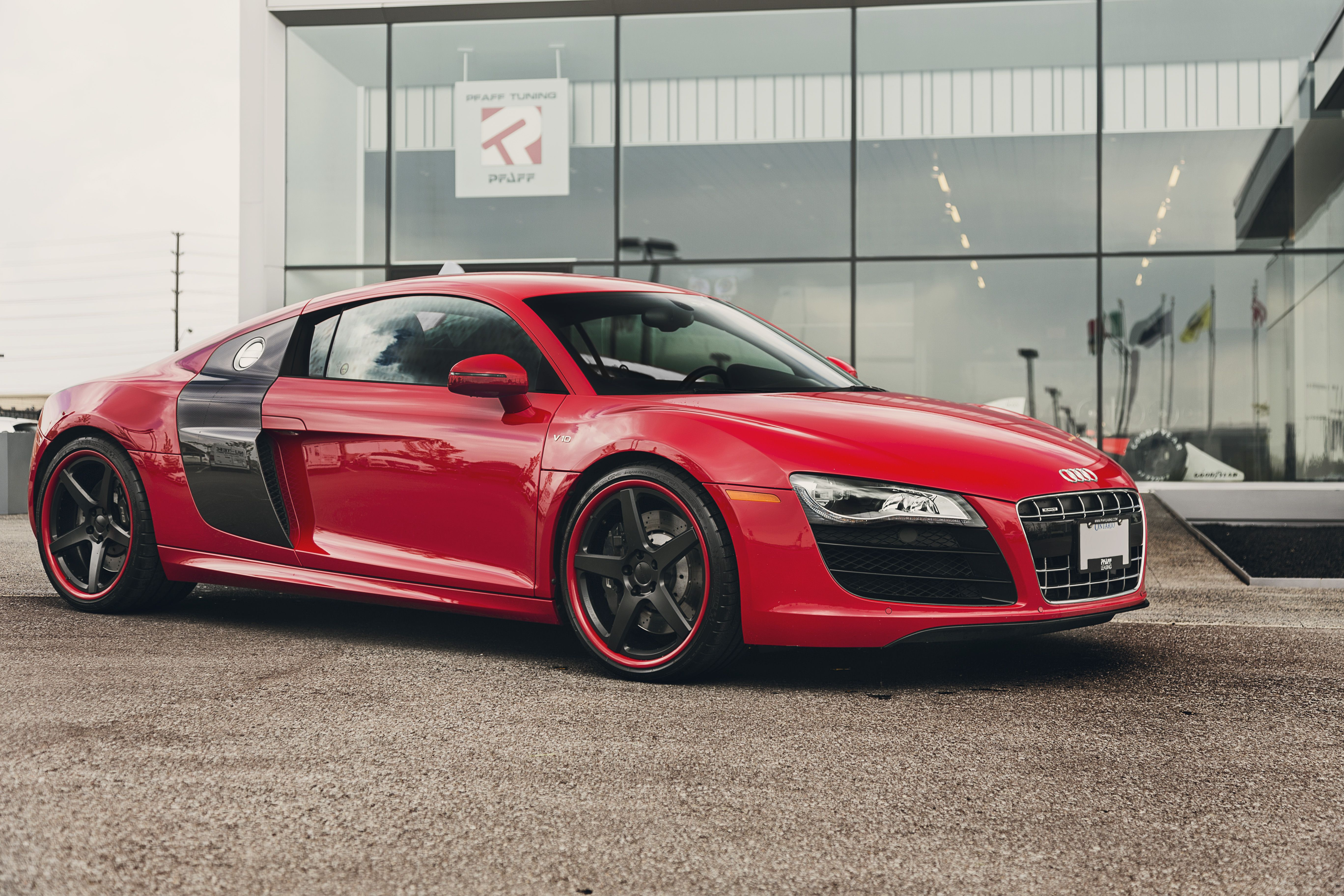 ontario 39 s pfaff tuning equipped this audi r8 v10 with 20 inch forgeline cf3c wheels finished. Black Bedroom Furniture Sets. Home Design Ideas