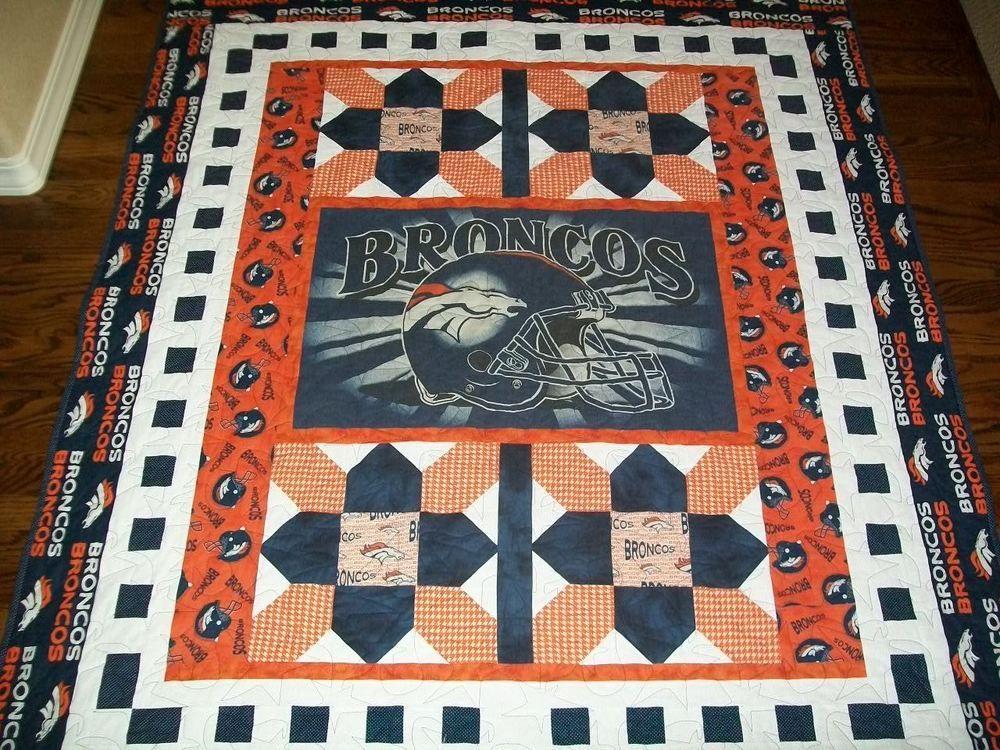 Handmade Nfl Denver #Denver Quilt With Custom Bronco Panel 55 X 66 ... : custom photo quilts - Adamdwight.com