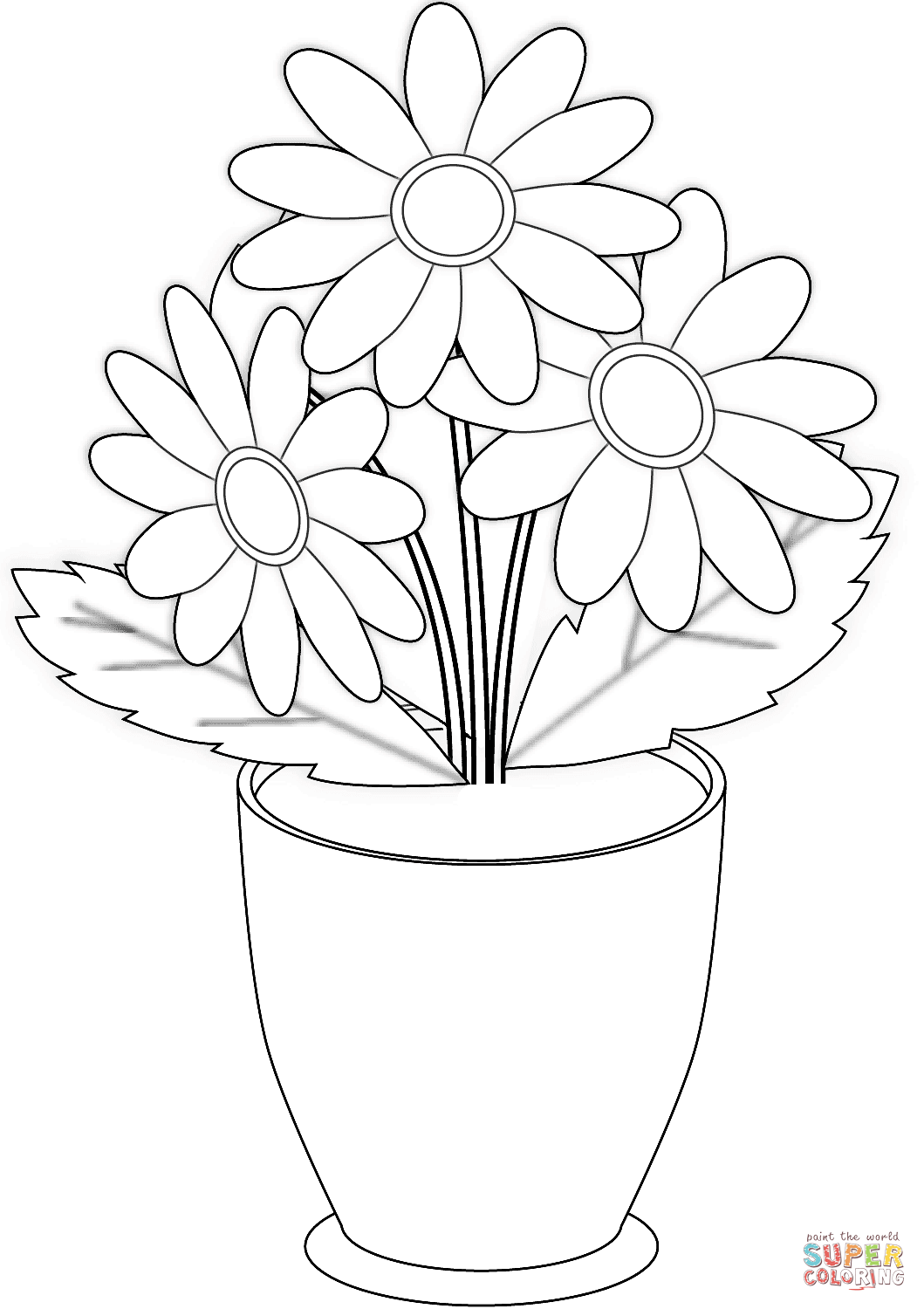 Chamomile Flowers In Pot Coloring Page Free Printable Coloring Pages Printable Flower Coloring Pages Flower Printable Flower Coloring Pages