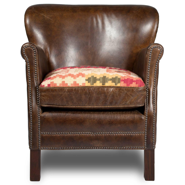 Professor Chair Vintage Cigar Leather & Kilim Cushion