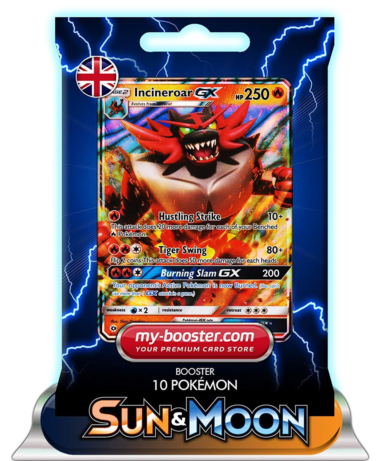 INCINEROAR GX 27/149 250HP SUN AND MOON 1 - Booster 10 English Pokemon  trading cards my-booster: Amazon.co.uk: Toys & Games