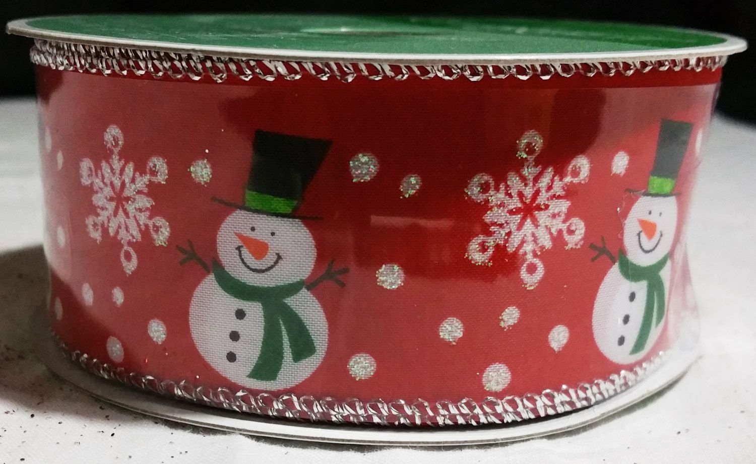 Celebrate It Red Snowman Ribbon Michaels New Wired Edged 25' x 1.5'' Christmas Crafts Trees Wreaths Garland by wasminenowyours on Etsy