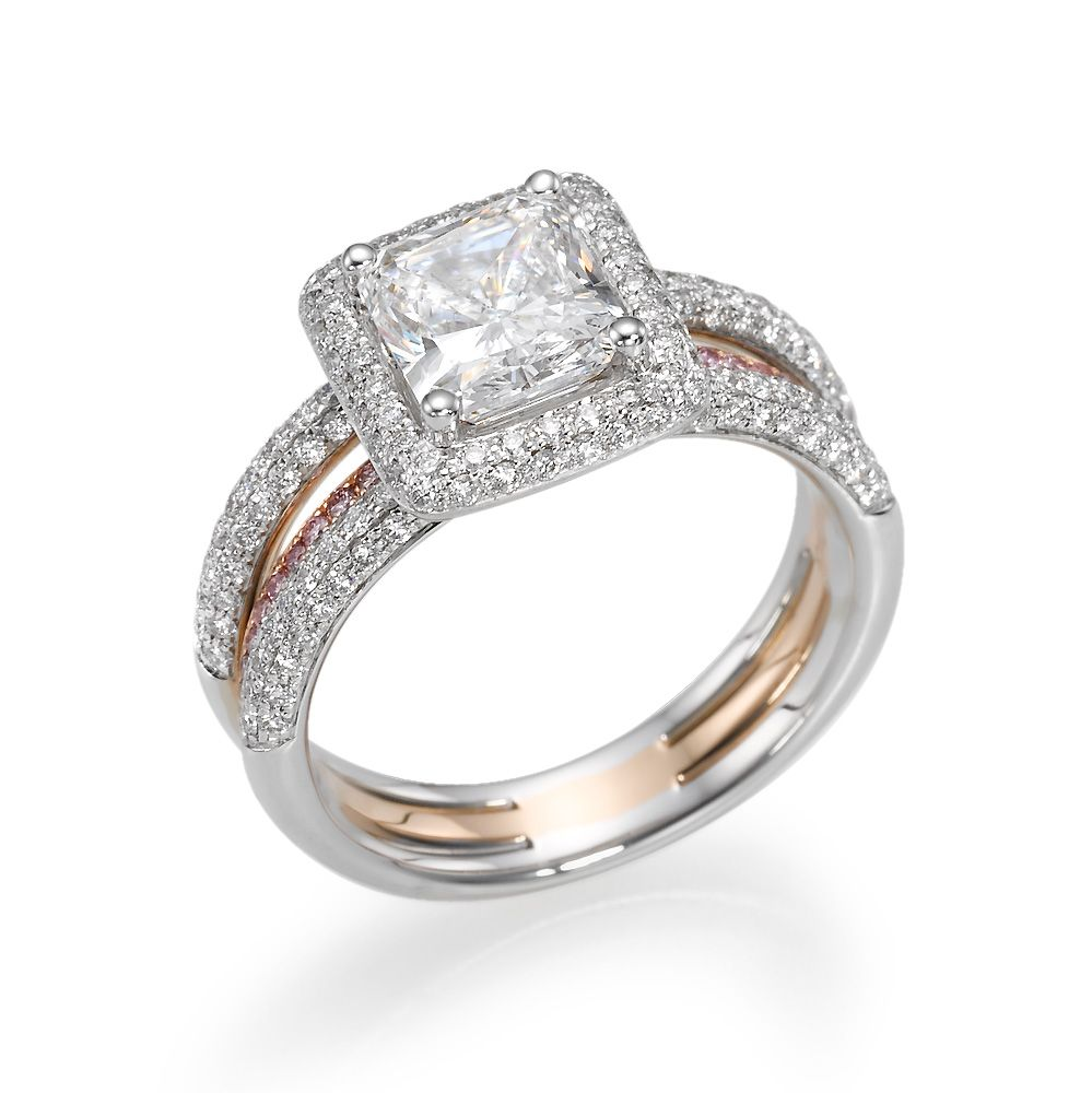 ct radiant cut diamond with diamond halo k rose gold and