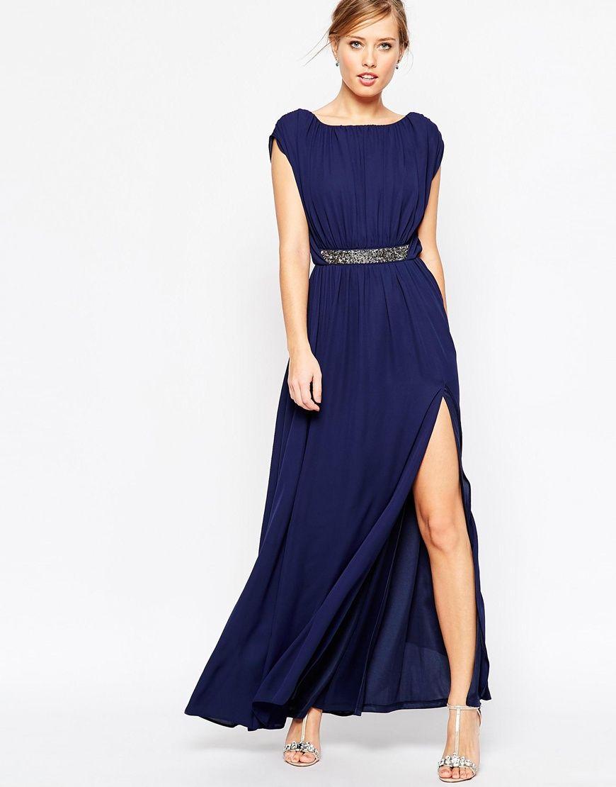 6180a773f Imagen 4 de Vestido largo con cintura adornada de ASOS | Fashion en ...