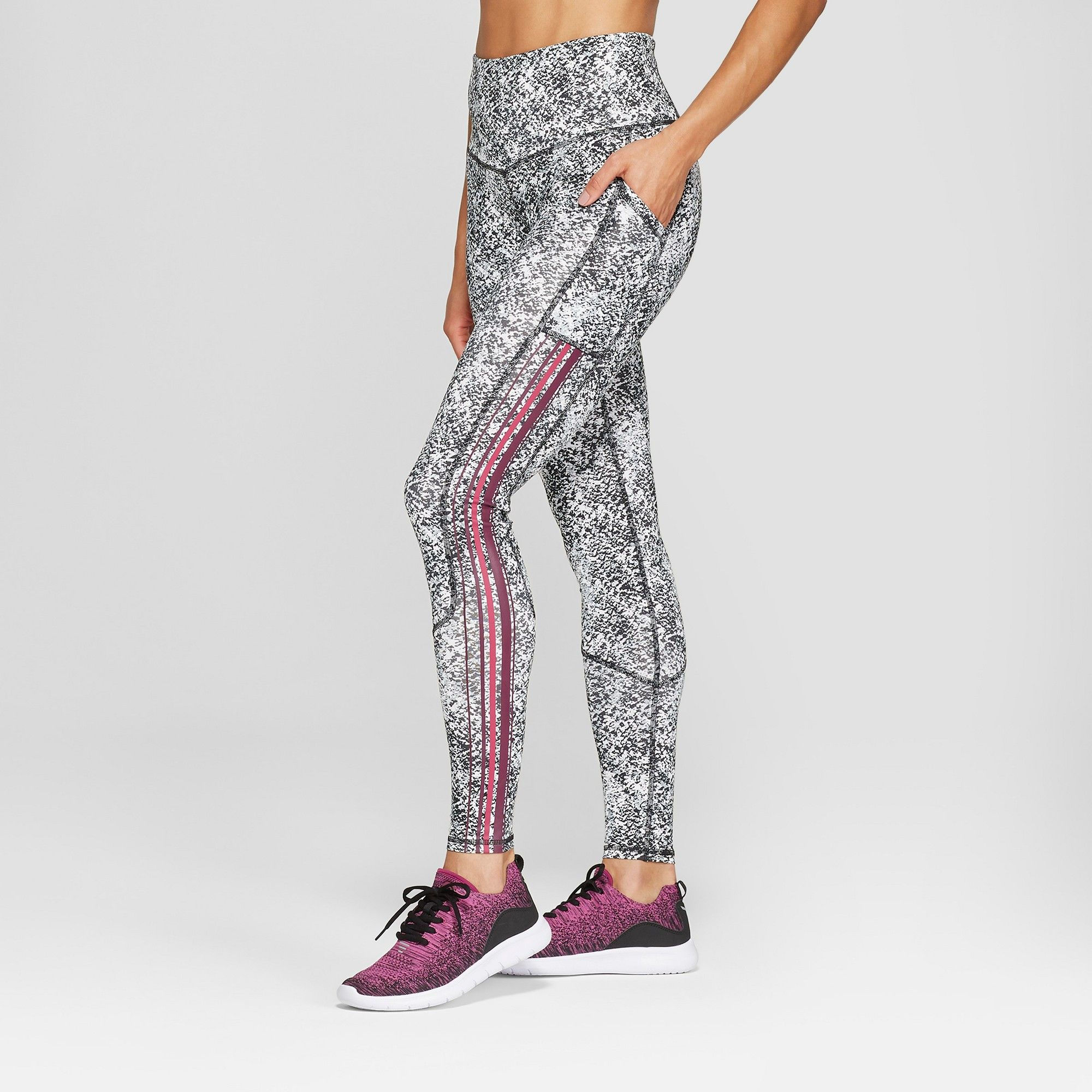 20c22a4df26fe Women's Training High-Waisted Leggings 28.5 - C9 Champion Grey Pebble Print  XL