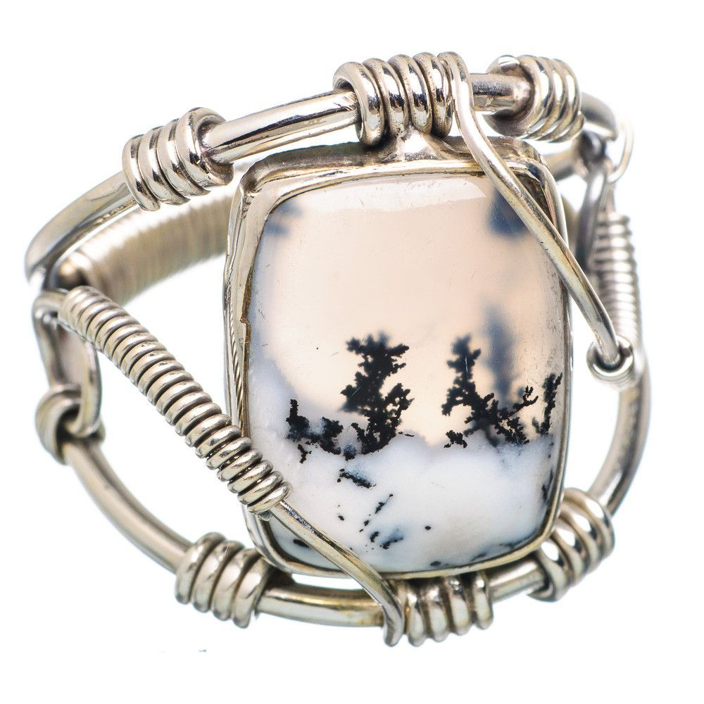 Dendritic opal sterling silver ring size ring