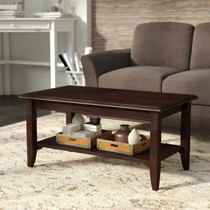 Transitional Coffee Table Display Storage Shelf Cappuccino Finish