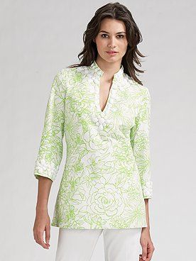 27151ca190b76c Lilly Pulitzer Newbury Tunic Printed Faille Dill Green in