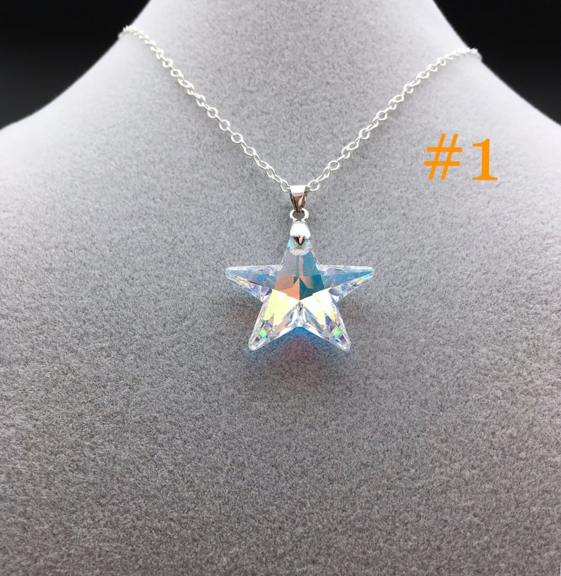 Star necklace with geometric elements on 18 gold plated chain with turquoise crystal bead accent Celestial Geometric necklace