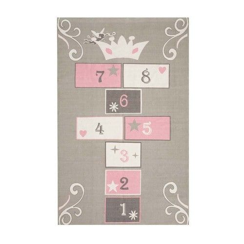 Grey And Pink Cotton Child S Hopscotch Mat 120x180 Tapis Enfant Tapis Marelle Tapis