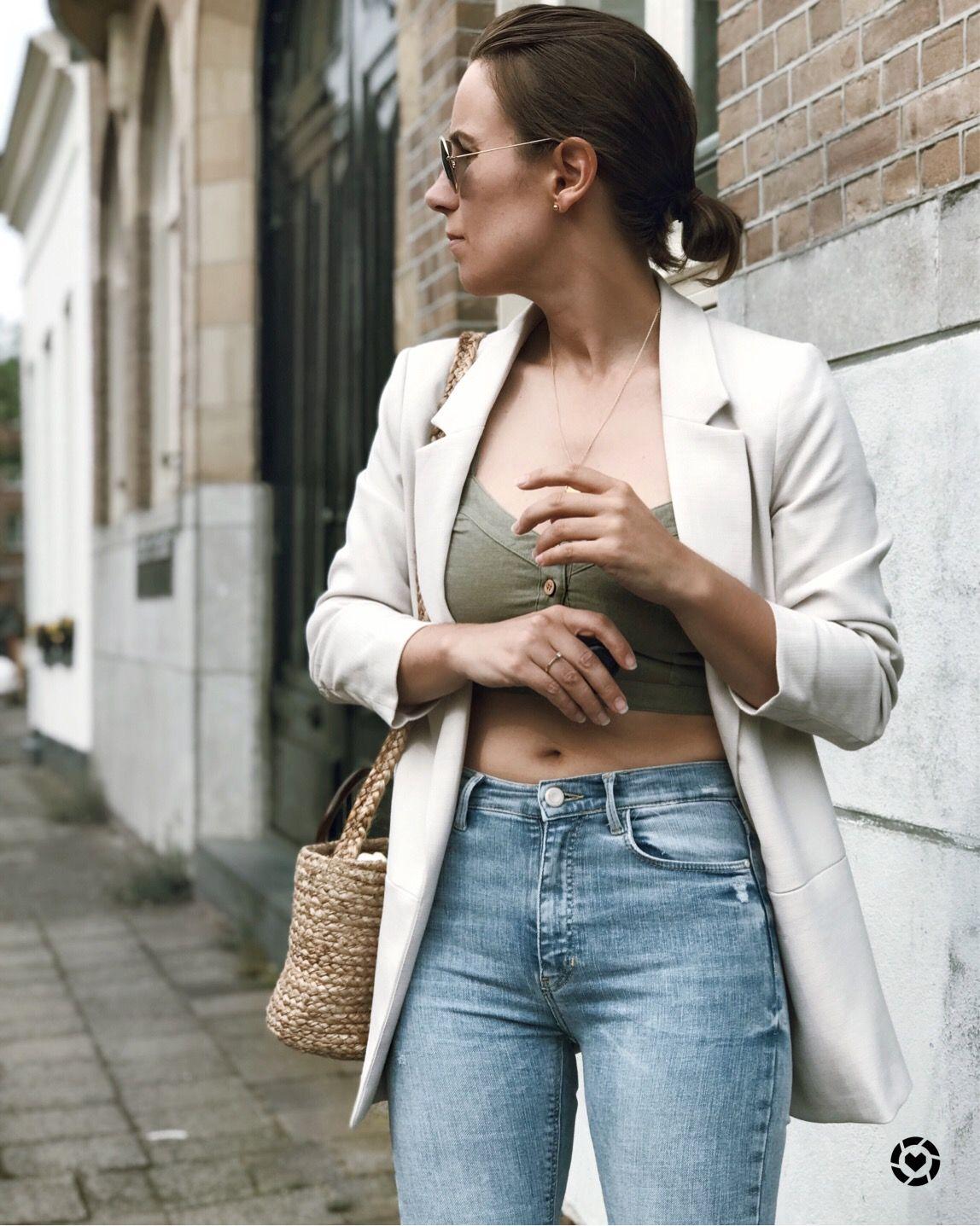 Olive Khaki Linen Crop Top Beige Linen Blazer High Waist