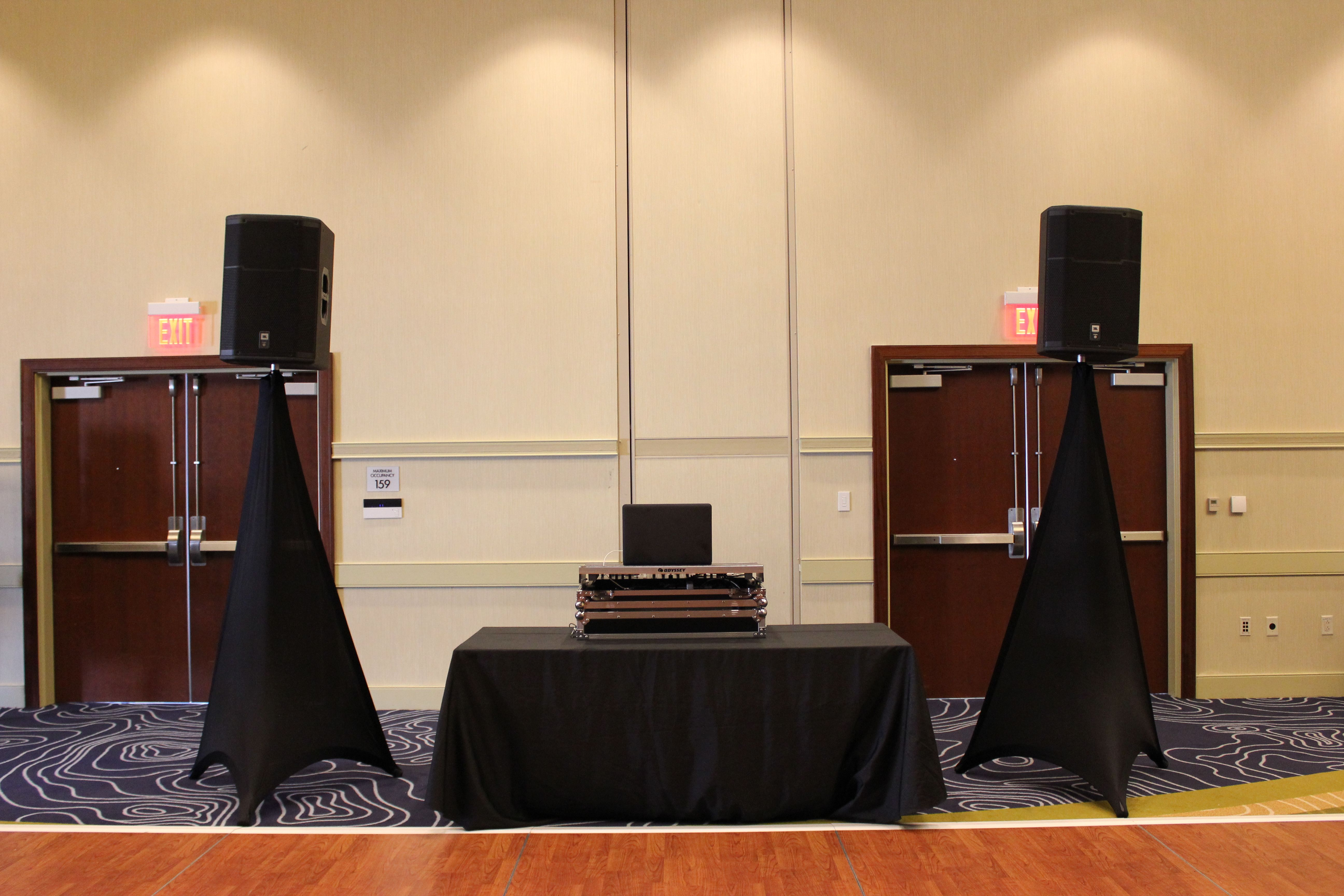 basic mobile dj setup with black skirting to hide speaker stands this can be used when client. Black Bedroom Furniture Sets. Home Design Ideas