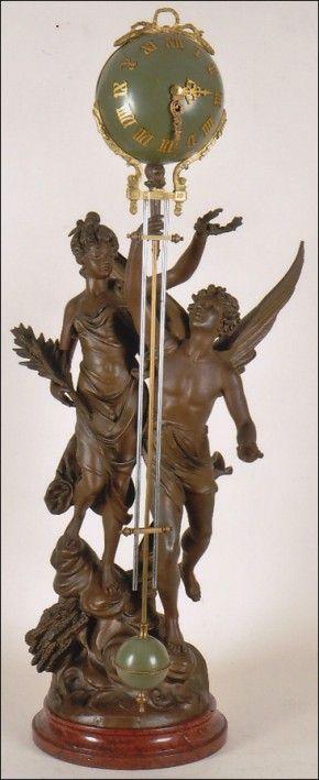 "An impressive swinging timepiece of French origin. ""Paix & Progres par Burchon."" -SOLD-"