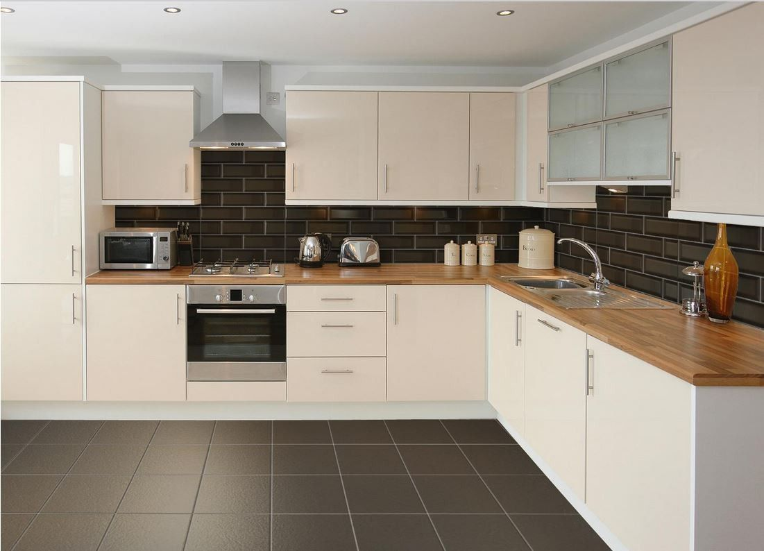 Bildergebnis fr black metro tiles kitchen