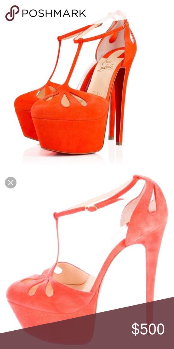 sale retailer 2e38f 332ed Orange T Strap Amyada Christian Louboutin Heels Worn 5 times ...