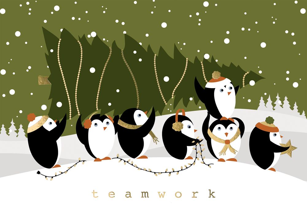 Penguin Teamwork Humorous Christmas Cards https://partyblock ...