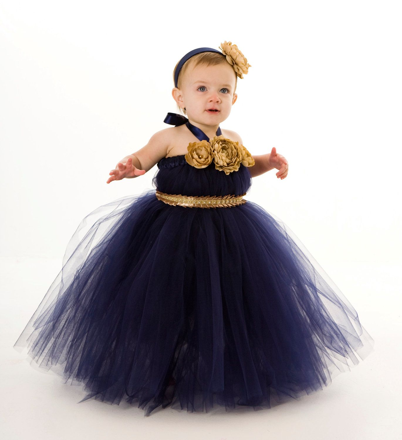Flower Girl Tutu Dress Navy Blue Sassy by