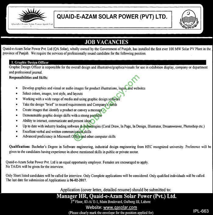 Quaid E Azam Solar Power Private Limited Qasolar Jobs  Latest