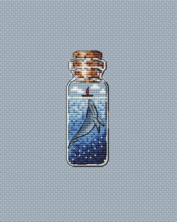 Photo of Whale Cross Stitch Pattern PDF Instant Download Jar Cross Stitch Sea Cross Stitch Bottle Cross Stitch Bright Cross Stitch Cute Xstitch Chart