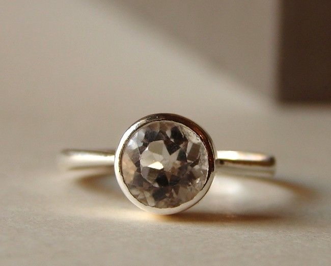 herkimer diamond ring - sterling silver. $145.00, via Etsy.