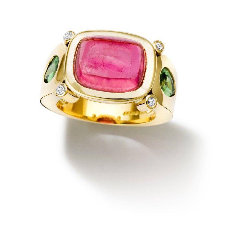 Cassandra Goad: Botanical 18ct yellow gold ring set with a cushion cabochon cut vivid pink tourmaline and pear shaped tsavorite green garnets and diamonds.