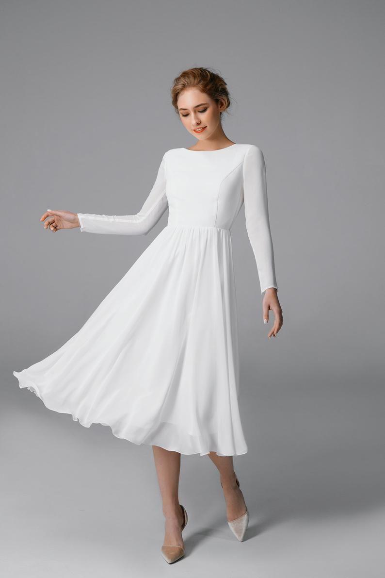 Simple Short Wedding Dress Chiffon Long Sleeve Wedding Dress Wedding Dress Midi A Line Dress Boho Wedding Dress Marika Brautkleid Lange Armel Chiffon Hochzeitskleid Hochzeitskleid Lang [ 1191 x 794 Pixel ]
