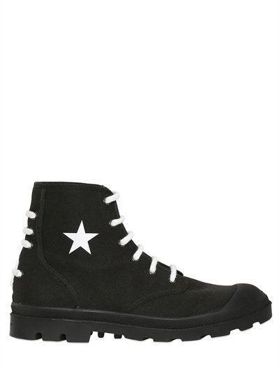 GivenchyOLYMPUS COTTON CANVAS LACE-UP BOOTS OBwMnkp