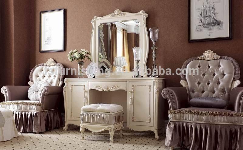 YM011 lujo clásico elegante blanco marfil francés tela de madera ...