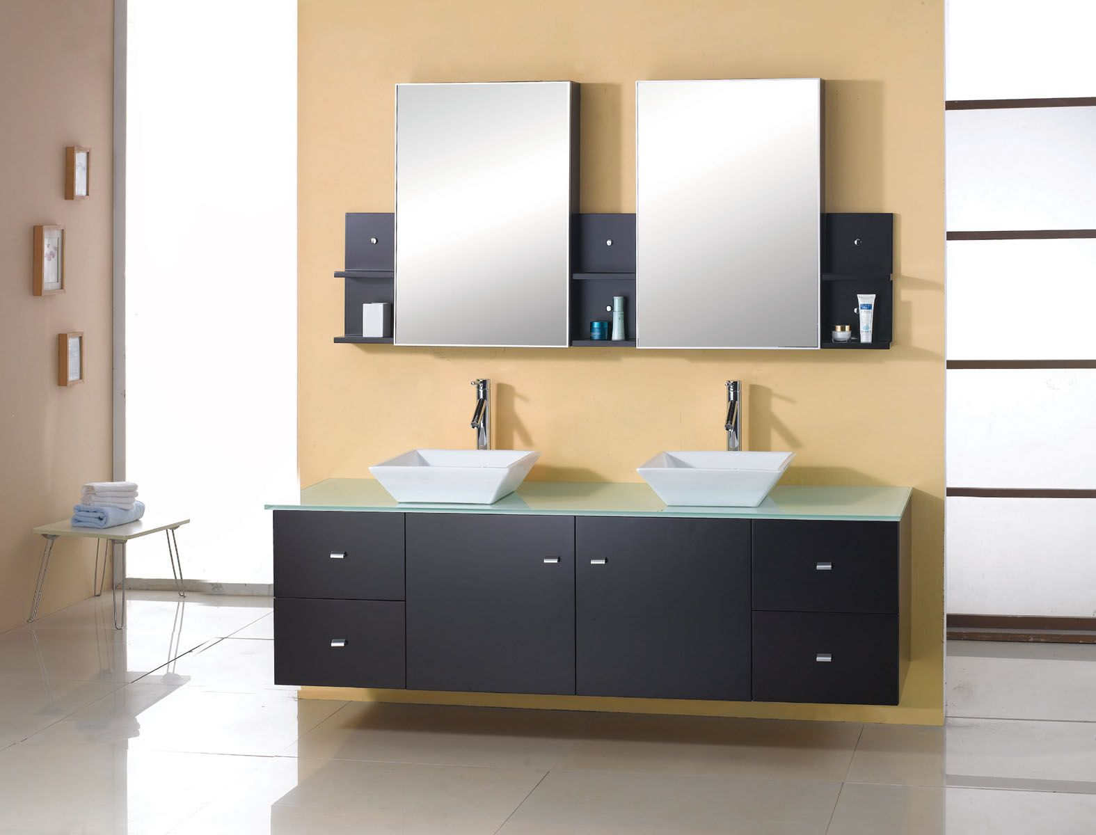 Enticing Wall Mounted Vessel Sink Vanity In Black With Rectangle Shape And Glass Vanity Top Double Vanity Bathroom Bathroom Vanity Contemporary Bathroom Vanity