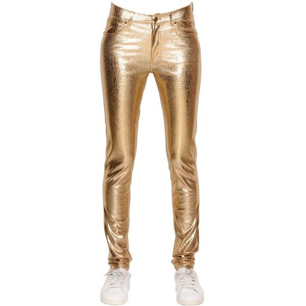 Mes Demoiselles Women Glitter Crackled Laminated Stretch Pants ($290) ❤ liked on Polyvore featuring pants, gold, gold stretch pants, gold glitter pants, glitter pants, white trousers and five pocket pants