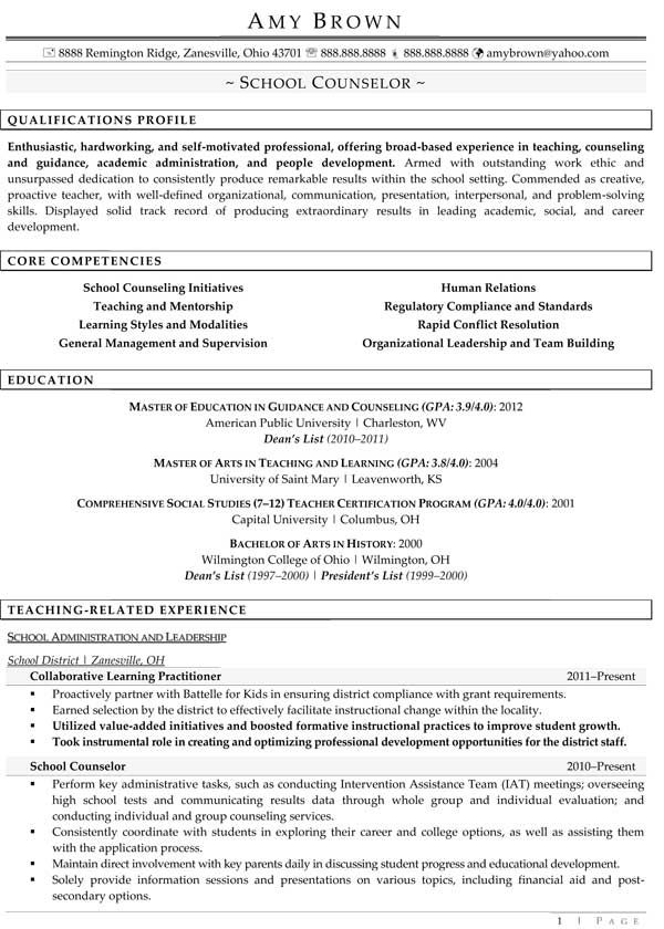 Professional School Counselor Resume | School Counselor 1.1 | School ...