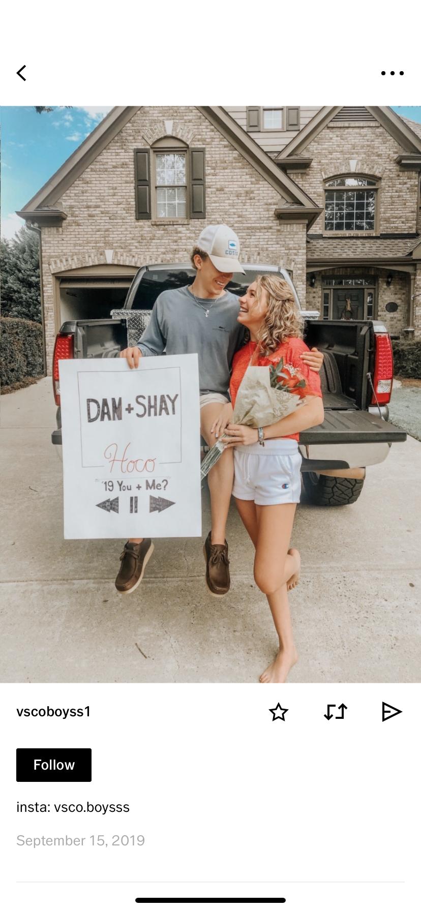 vsco dan + shay hoco / prom proposal  #hocoproposalsideasboyfriends