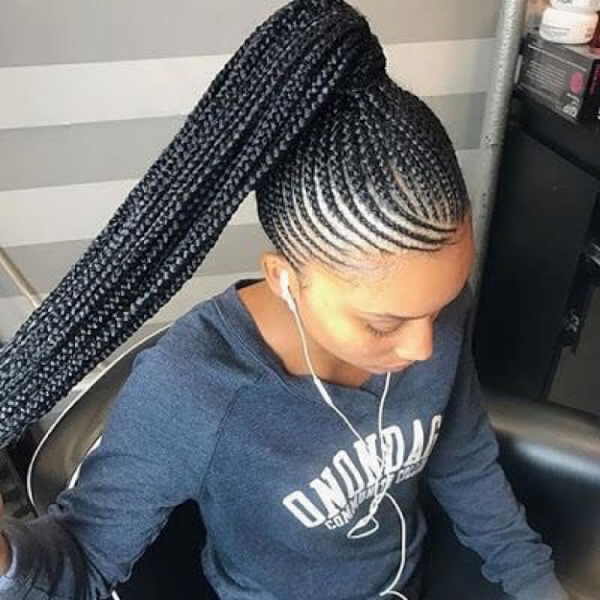 42 Catchy Cornrow Braids Hairstyles Ideas To Try In 2019 Bored Art Feed In Braids Ponytail Braided Ponytail Hairstyles Braided Hairstyles