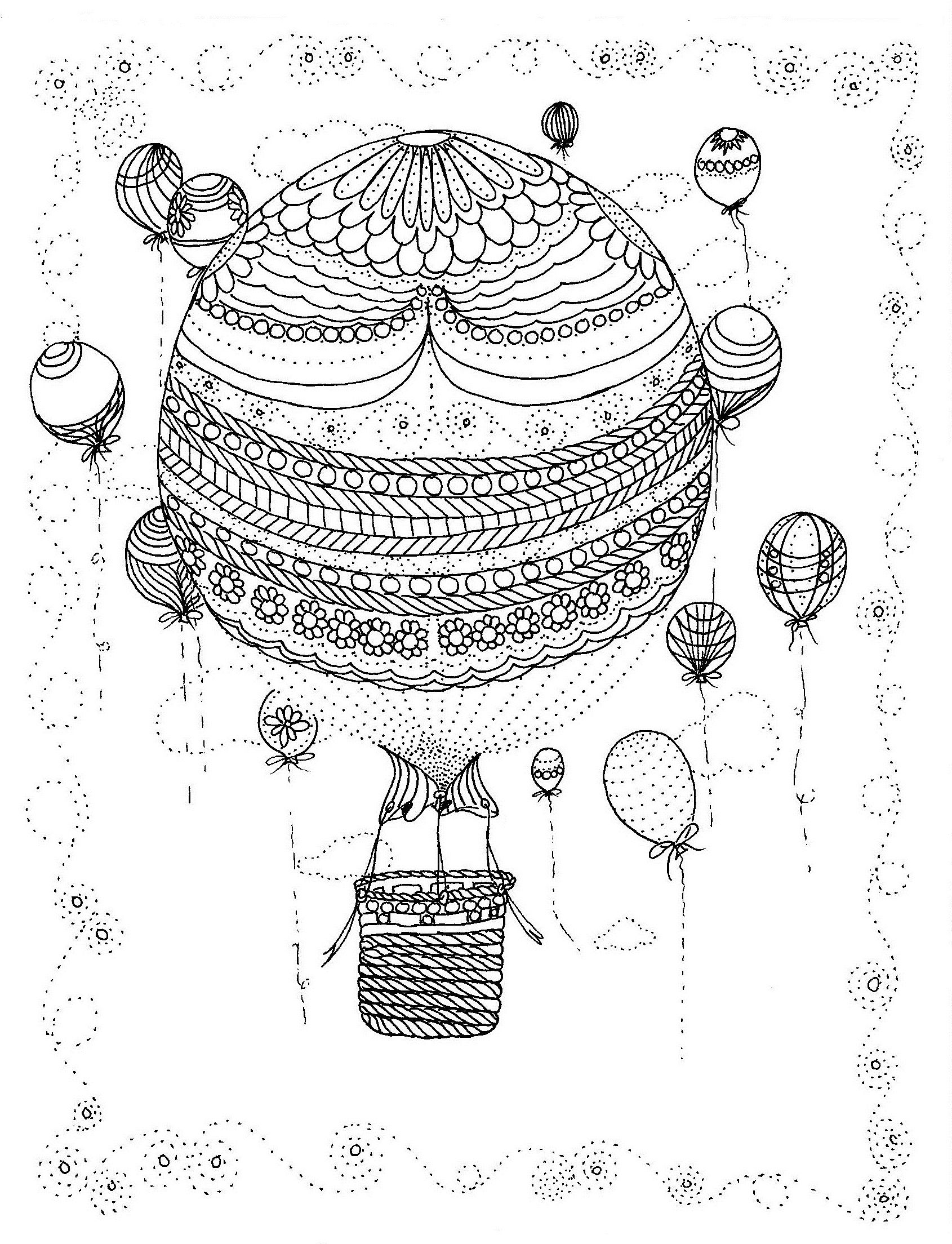 Hot Air Balloon Coloring Page | Hot air balloons, Air balloon and ...