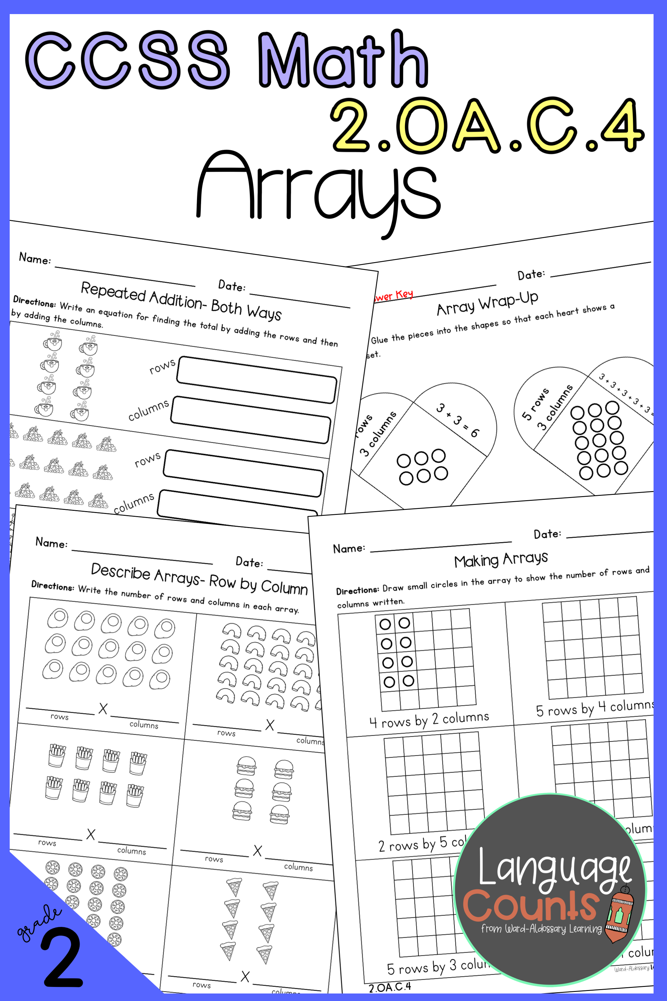 Distance Learning 2nd Grade Arrays Amp Repeated Addition