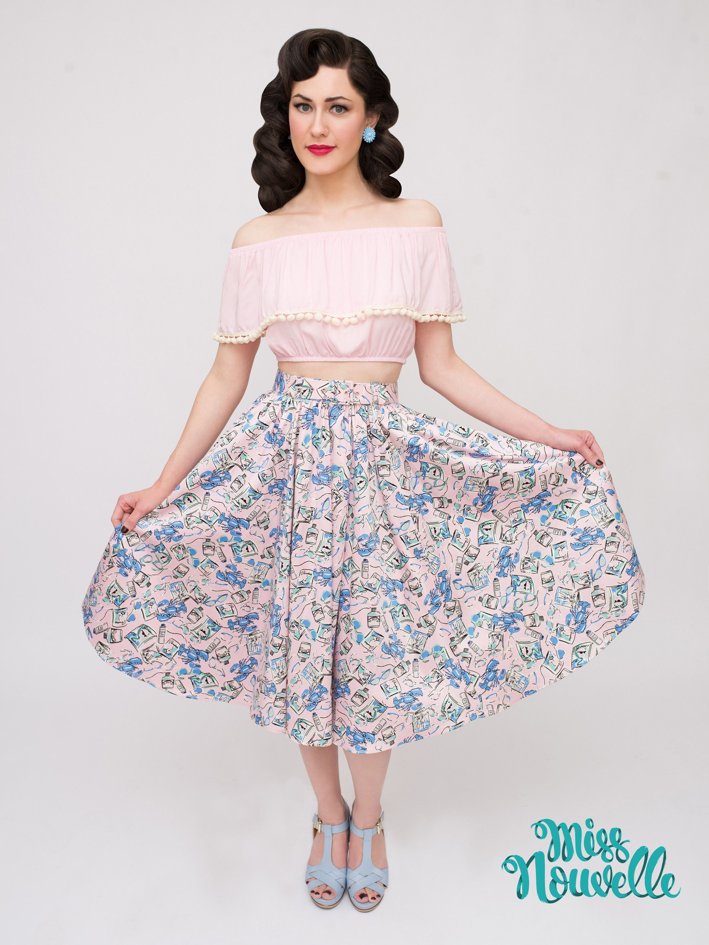 Miss Nouvelle - Twirl Skirt, Sunsoaked - novelty print, vintage inspired, pinup, pink, lobsters, retro, 1950s, rockabilly