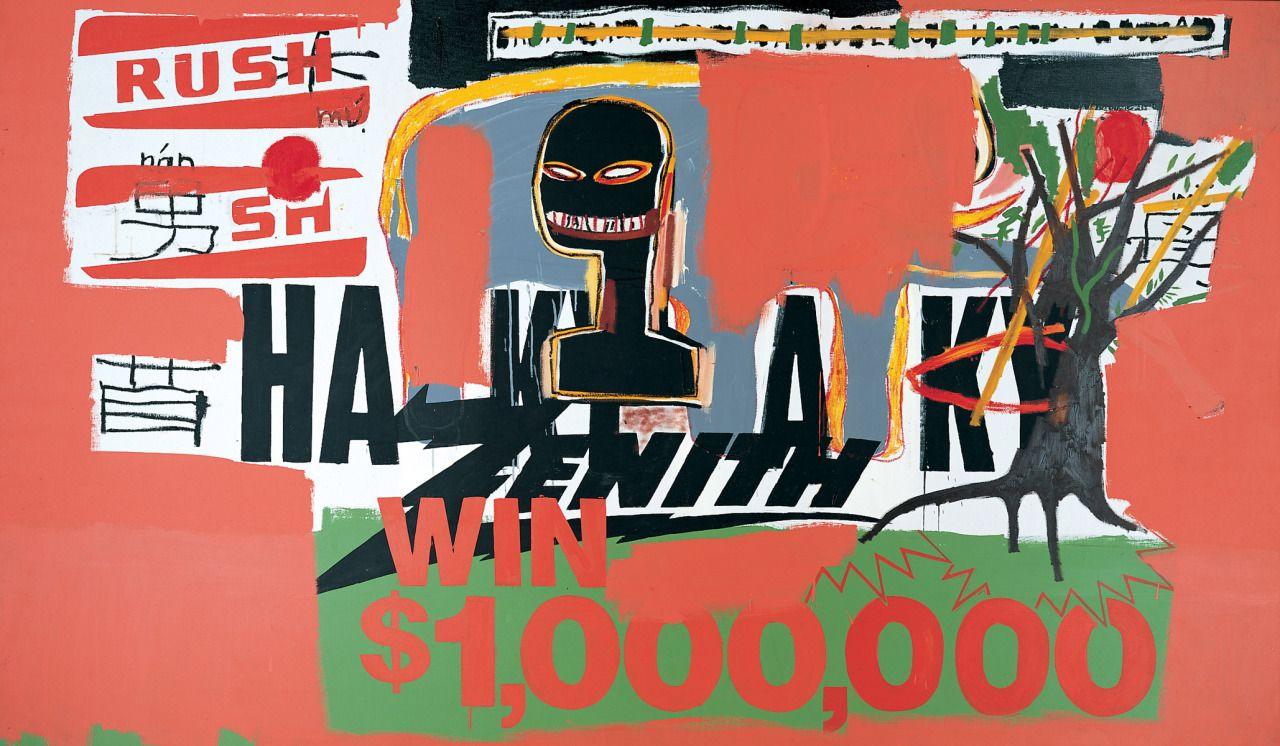 Basquiat and Warhol, Win $1,000,000, 1984. | Basquiat, Jean michel basquiat,  Basquiat paintings