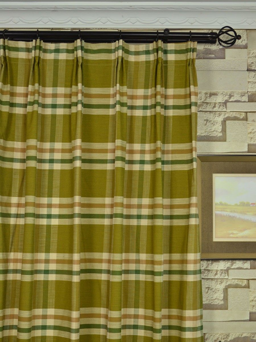 Extra Wide Hudson Large Plaid Versatile Pleat Curtains 100 120 Inch Curtains Cheery Curtains Ready Made