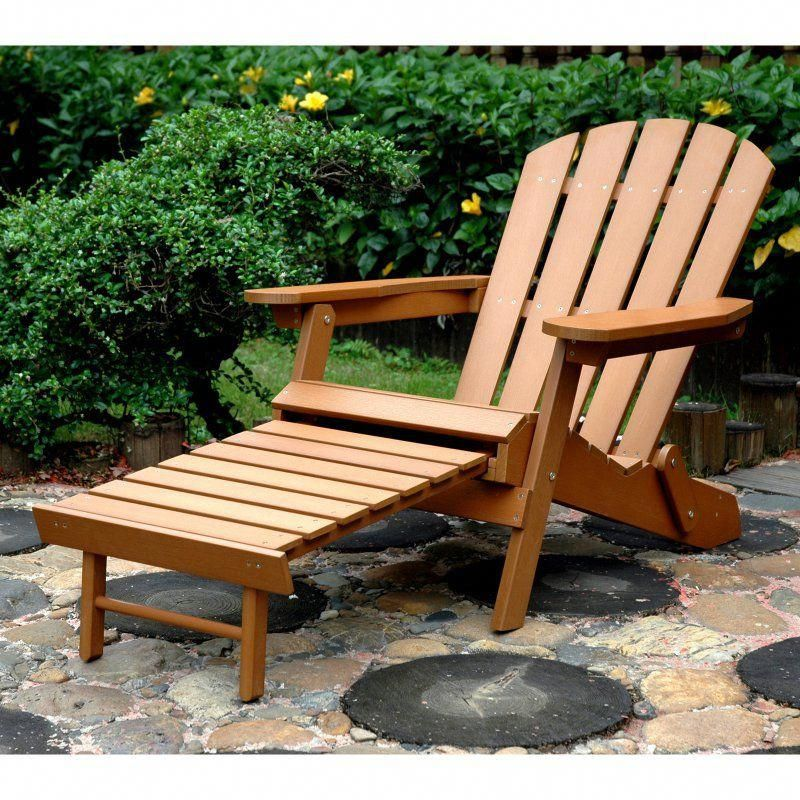 Outdoor Merry Products Plastic Wood Folding Adirondack Chair