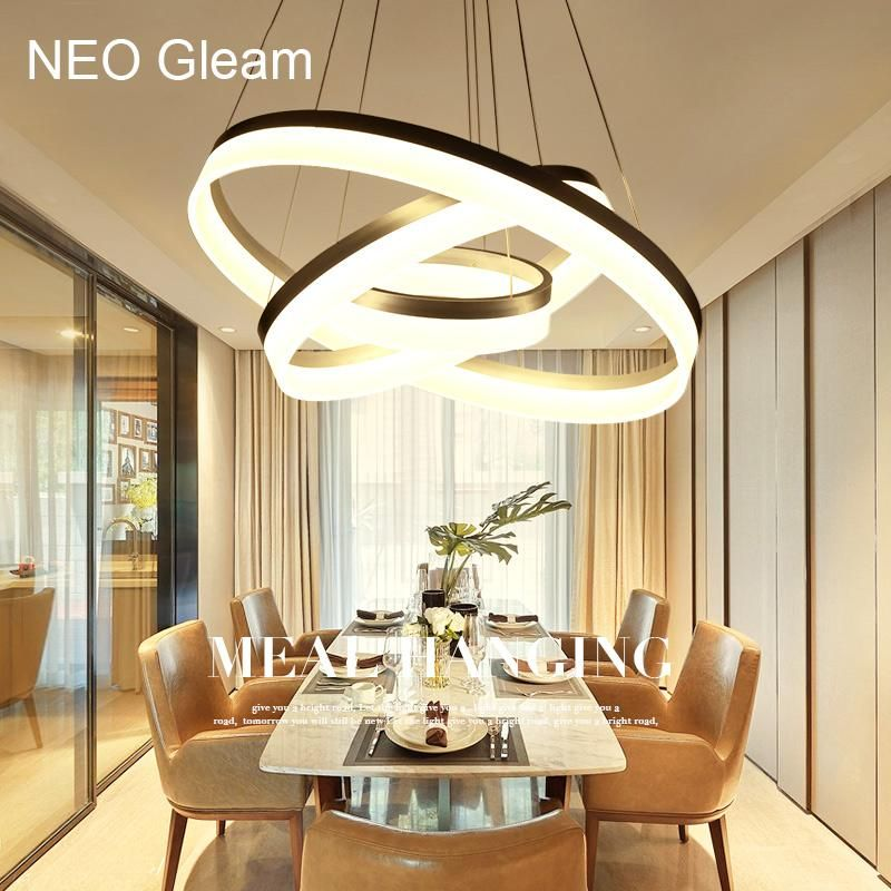 Led Circle Ring Chandelier Living Room Lighting White Pendant