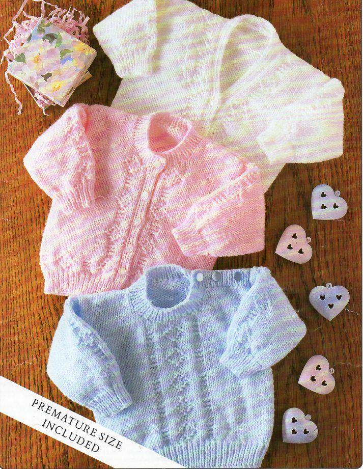 baby DK cardigans sweater knitting pattern premature baby jumper ...