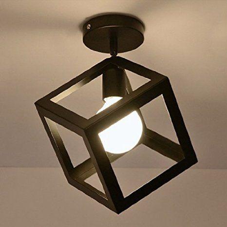 Hahaemall applique plafonnier vintage rétro à forme géométrique style industriel en métal pour loft ampoule